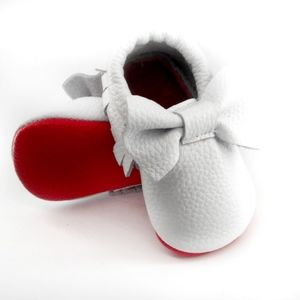 Other - White leather bow with red sole baby moccasins